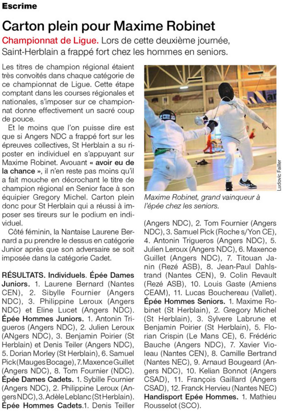 ouest france ligue epee